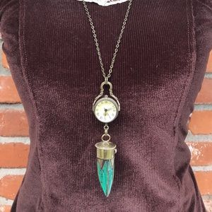 AlphaVariable Jewelry - Turquoise Steampunk Boho Pocket Watch Necklace